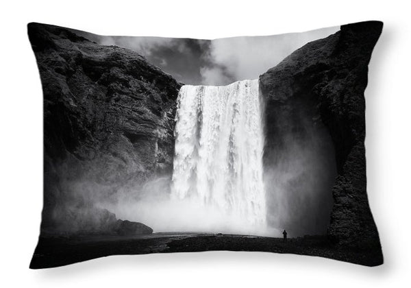 Iceland Black And White Skogafoss Waterfall - Throw Pillow