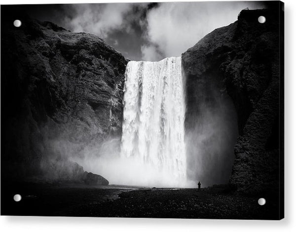 Iceland Black And White Skogafoss Waterfall - Acrylic Print