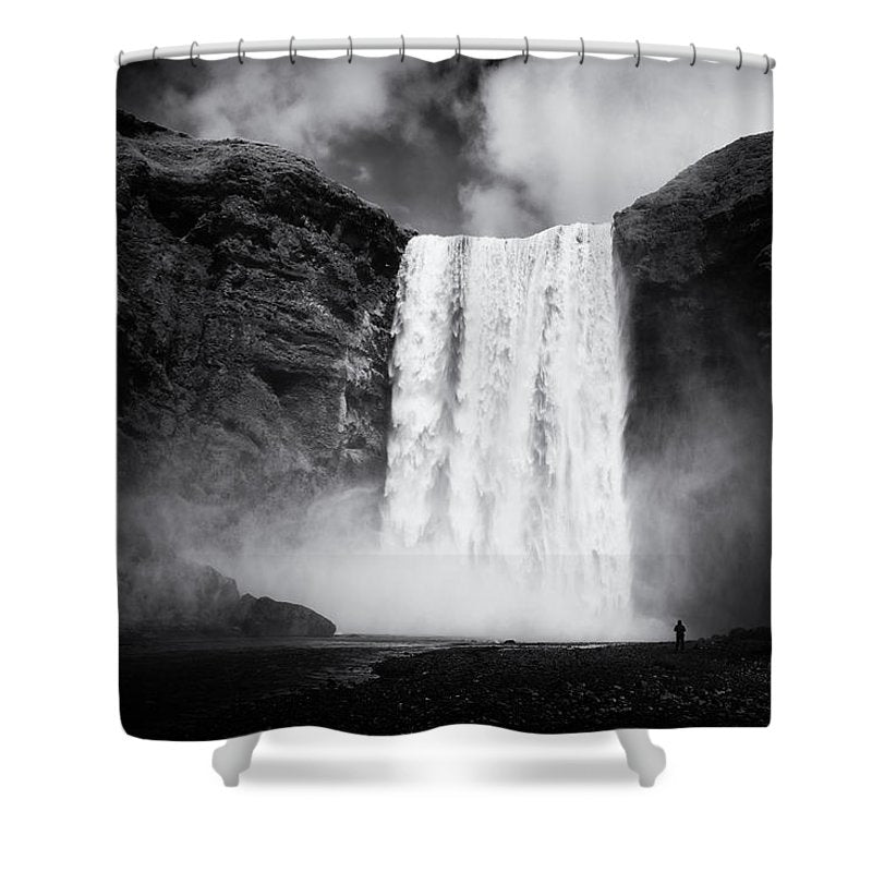 Iceland Black And White Skogafoss Waterfall - Shower Curtain