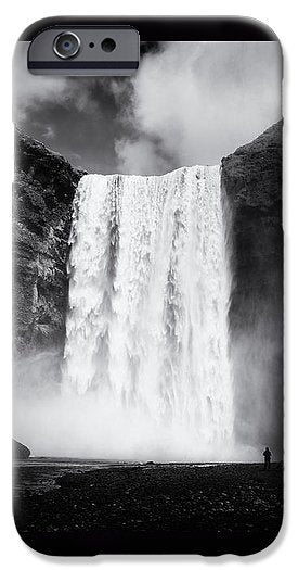 Iceland Black And White Skogafoss Waterfall - Phone Case