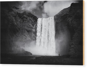 Iceland Black And White Skogafoss Waterfall - Wood Print