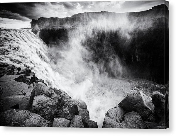 Iceland Dettifoss Waterfall Black And White - Canvas Print