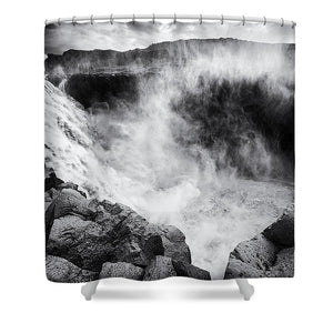Iceland Dettifoss Waterfall Black And White - Shower Curtain