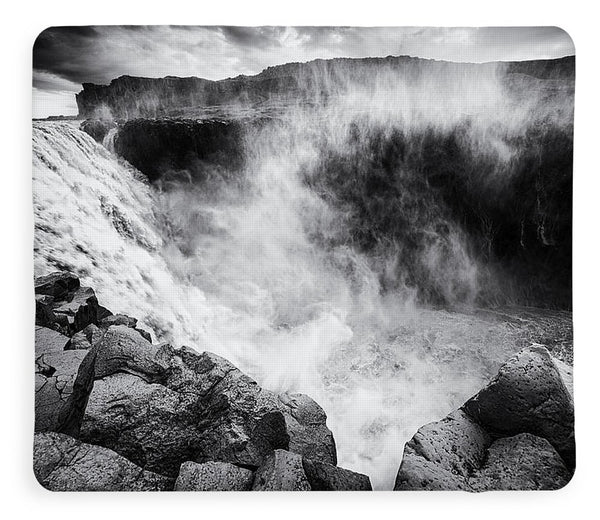 Iceland Dettifoss Waterfall Black And White - Blanket