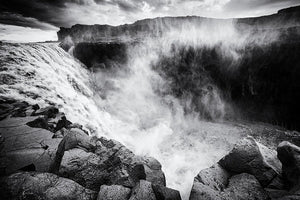 Iceland Dettifoss Waterfall Black And White - Art Print