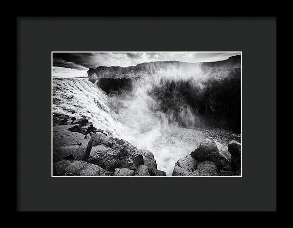 Iceland Dettifoss Waterfall Black And White - Framed Print