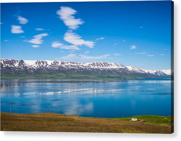 Iceland Eyjafjoerdur Fjord Blue Water Reflection - Acrylic Print