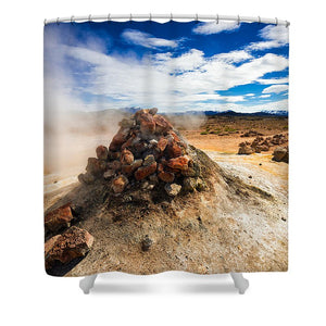 Iceland Geothermal Landscape Hverir Namaskard With Fumarole - Shower Curtain