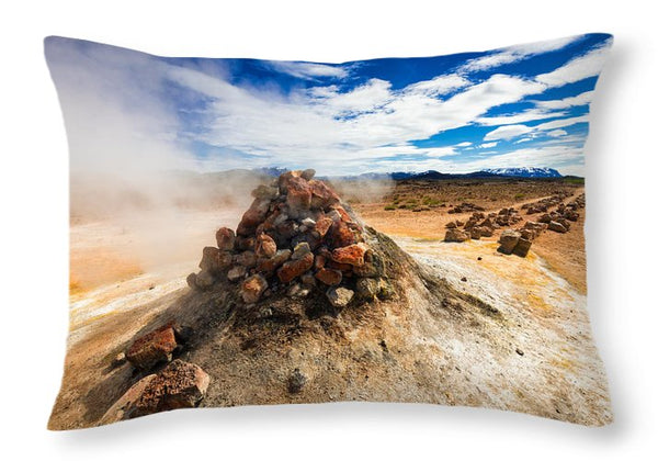 Iceland Geothermal Landscape Hverir Namaskard With Fumarole - Throw Pillow