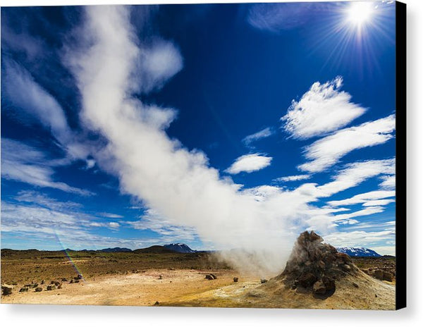 Iceland Hverir - Fumarole With Steam In Fascinating Landscape - Canvas Print