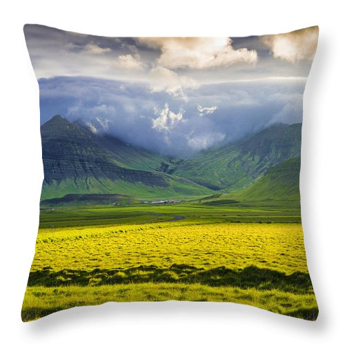 Iceland Landscape Snaefellsnes With Amazing Light - Throw Pillow
