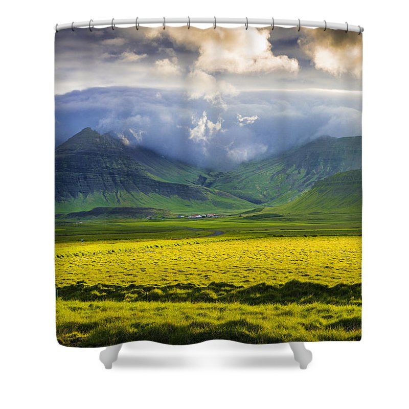 Iceland Landscape Snaefellsnes With Amazing Light - Shower Curtain