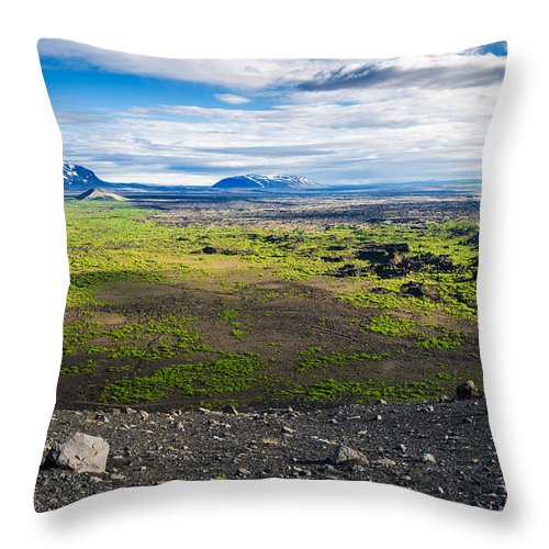 Iceland Landscape - View From Hverfjall Crater - Throw Pillow