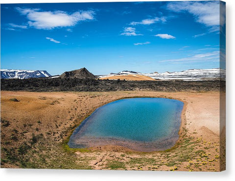 Iceland Landscape With Blue Water And Sky Leirhnjukur - Canvas Print