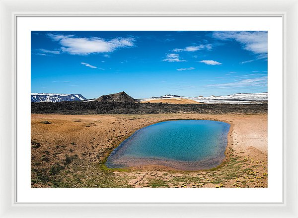 Iceland Landscape With Blue Water And Sky Leirhnjukur - Framed Print