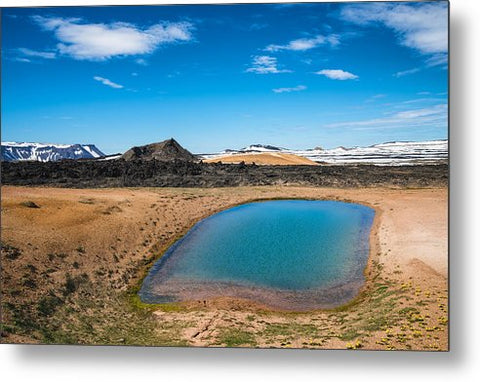 Iceland Landscape With Blue Water And Sky Leirhnjukur - Metal Print