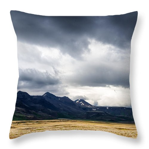 Iceland Landscape With Dramatic Sky And Fantastic Light - Throw Pillow