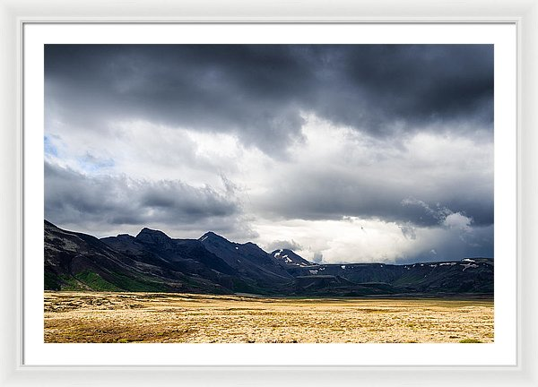 Iceland Landscape With Dramatic Sky And Fantastic Light - Framed Print
