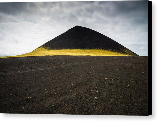 Iceland Minimalist Landscape Brown Black Yellow - Canvas Print