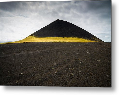 Iceland Minimalist Landscape Brown Black Yellow - Metal Print