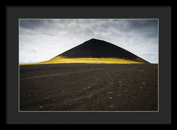 Iceland Minimalist Landscape Brown Black Yellow - Framed Print