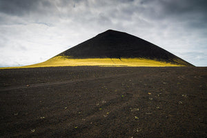 Iceland Minimalist Landscape Brown Black Yellow - Art Print