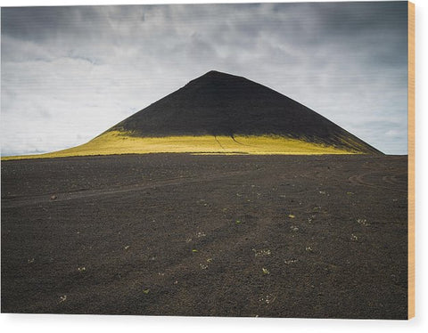 Iceland Minimalist Landscape Brown Black Yellow - Wood Print