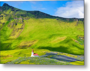 Iceland Mountain Landscape With Church In Vik - Metal Print