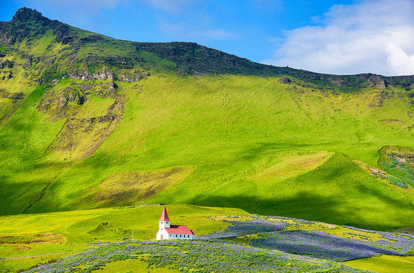 Iceland Mountain Landscape With Church In Vik - Art Print