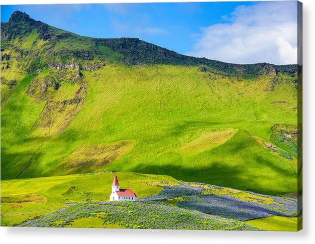 Iceland Mountain Landscape With Church In Vik - Acrylic Print