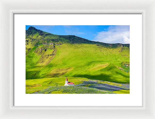Iceland Mountain Landscape With Church In Vik - Framed Print