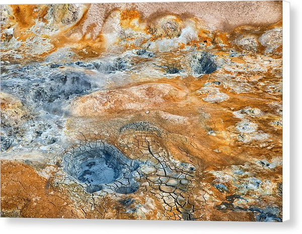 Iceland Natural Abstract Mud Pots And Sulphur - Canvas Print