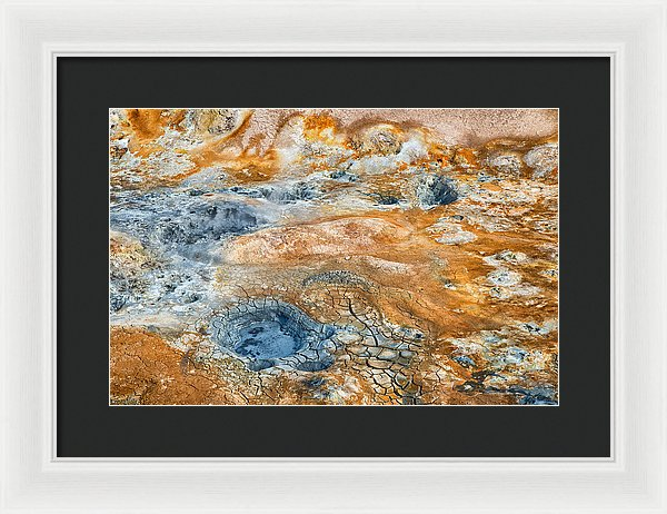 Iceland Natural Abstract Mud Pots And Sulphur - Framed Print