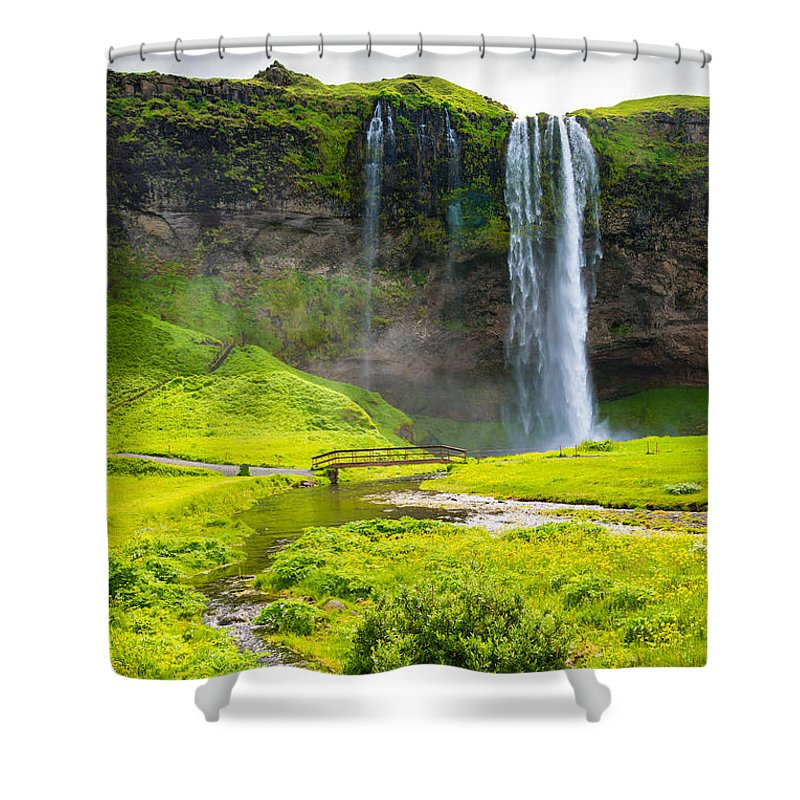 Iceland Seljalandsfoss Waterfall - Shower Curtain