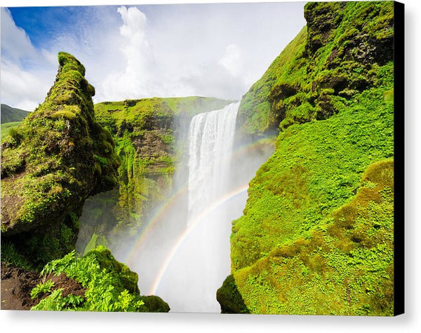 Iceland Skogafoss Waterfall With Rainbow - Canvas Print