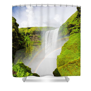 Iceland Skogafoss Waterfall With Rainbow - Shower Curtain