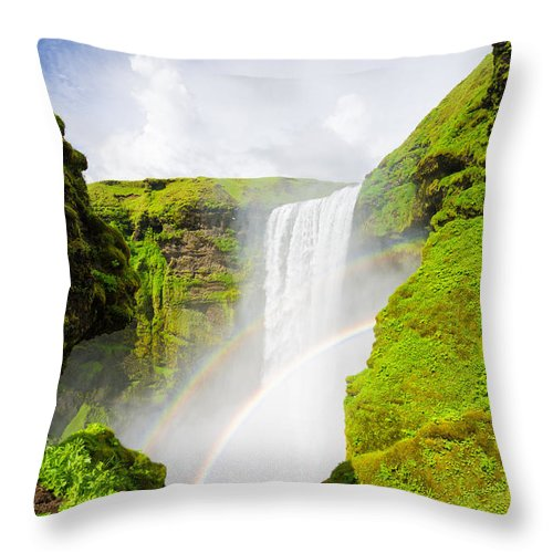 Iceland Skogafoss Waterfall With Rainbow - Throw Pillow