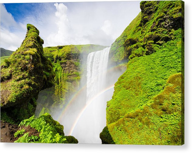 Iceland Skogafoss Waterfall With Rainbow - Acrylic Print