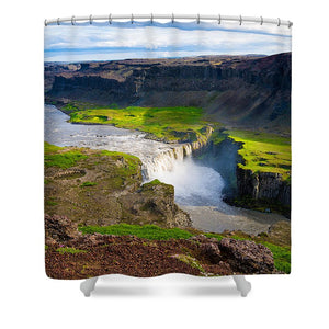 Iceland Waterfall Hafragilsfoss - Shower Curtain