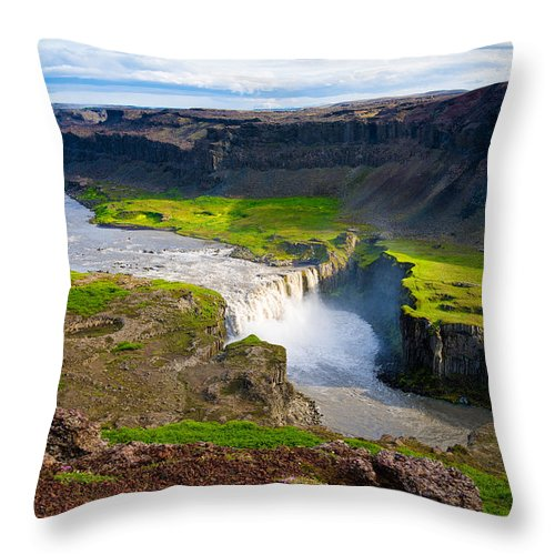 Iceland Waterfall Hafragilsfoss - Throw Pillow