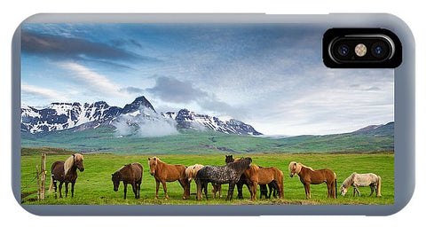 Icelandic Horses In Mountain Landscape In Iceland - Phone Case