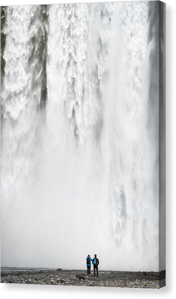 Impressive Waterfall Skogafoss In Iceland With Lots Of Water - Canvas Print