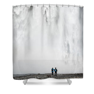 Impressive Waterfall Skogafoss In Iceland With Lots Of Water - Shower Curtain
