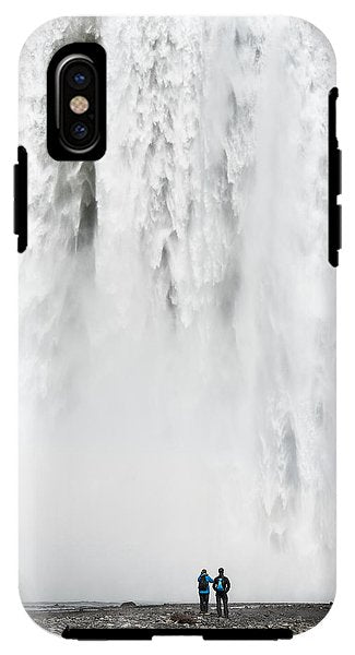 Impressive Waterfall Skogafoss In Iceland With Lots Of Water - Phone Case