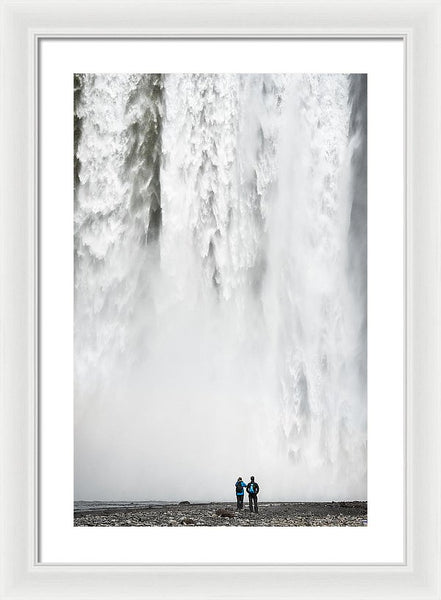 Impressive Waterfall Skogafoss In Iceland With Lots Of Water - Framed Print