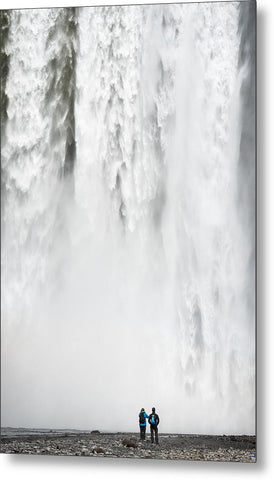 Impressive Waterfall Skogafoss In Iceland With Lots Of Water - Metal Print