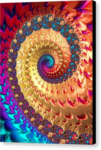 Joyful Fractal Spiral Full Of Energy - Canvas Print