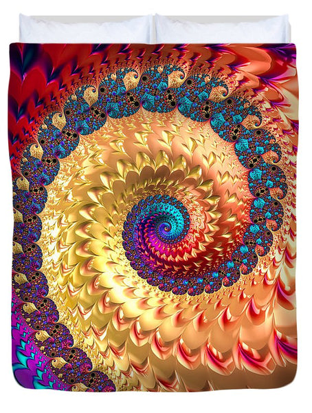 Joyful Fractal Spiral Full Of Energy - Duvet Cover