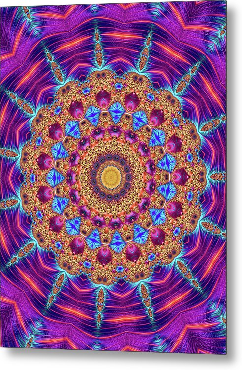 Kaleidoscope Mandala Purple Orange Blue Fractal Style - Metal Print