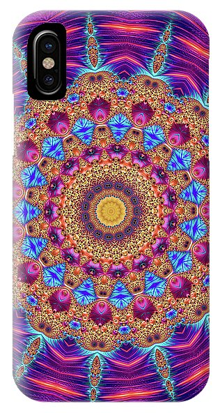 Kaleidoscope Mandala Purple Orange Blue Fractal Style - Phone Case